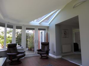 Plastered Conservatory Ceiling with Glazing